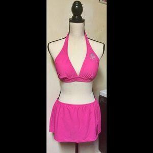 Two Piece Bikini w/ Skirt in Hot Pink, Large